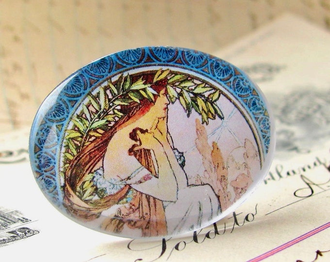 "Mucha's ""Poetry"" Art Nouveau handmade glass cabochon, green leaf, blue pastel, 40x30 30x40 40x30mm 30x40mm oval, horizontal, sideways"