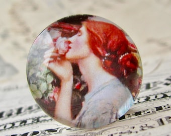 """John William Waterhouse """"The Soul of the Rose"""" 25mm glass cabochon, artisan crafted, Art History collection, 1 inch circle, bottle cap size"""