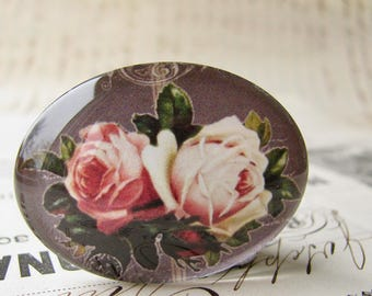 Pink vintage roses on blackboard, handmade glass cabochon, 40x30mm, sideways oval, horizontal image, Fabulous Florals collection