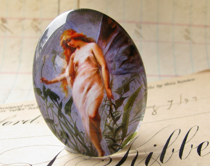 Lily Fairy cabochon, long hair, handmade glass oval, 40x30mm or 25x18mm, from our Magical Maidens collection, handmade in this shop