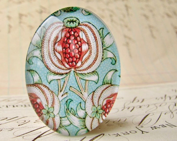 NEW! William Morris collection - pomegranate, 40x30mm or 25x18mm glass oval cabochon, wallpaper print, handmade in this shop, Art Nouveau