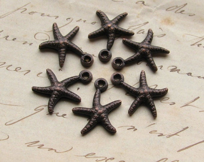Tiny starfish charms, dark antiqued brass (6 charms) black aged patina, seaside, ocean, nautical, boating, water, shore, beach charms
