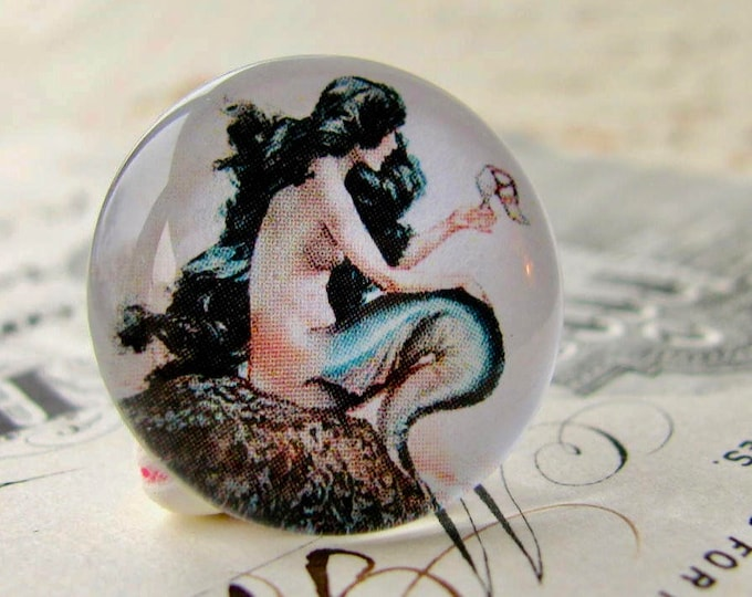 Mermaid cabochon, ocean lore, nautical legend, handmade glass cabochons, round 22mm cabochon, flat back image, Fallen Angel Brass