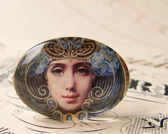"Handmade glass cabochon - ""Mask"" - 25x18mm oval, horizontal orientation, wide, woman face, blue, swirls, Art Nouveau collection"