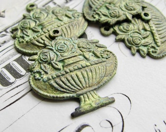 New! Absinthe finish, green patina flower bowl charm, antiqued brass (2 charms) small pendant, flower basket, green fairy