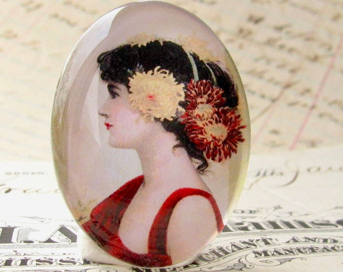 The Chrysanthemum Girl, 40x30 40x30mm 30x40mm, flowers in hair handmade glass oval cabochon, woman profile, Marsala red dress, black, yellow