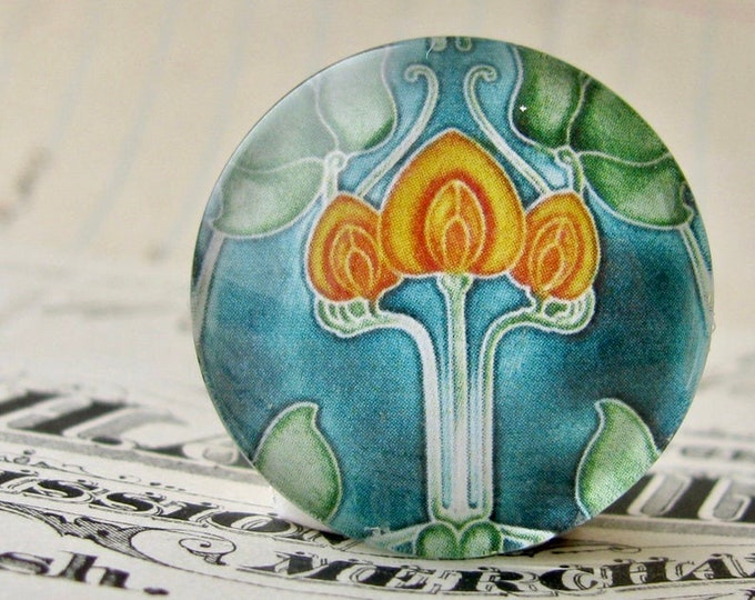 """NEW! From the """"Art Nouveau Ceramic Tiles"""" series, 25mm round glass cabochon, Jugendstile, handmade, bottle cap, 1 inch circle, yellow flower"""