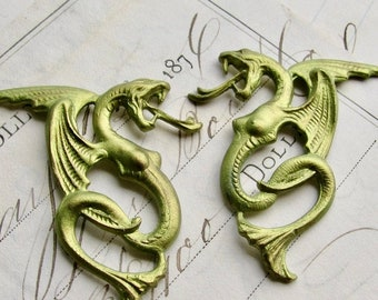 Absinthe finish, female winged serpent pair, 40mm, left and right brass stampings, flying snake woman, dark magic, mythical creature