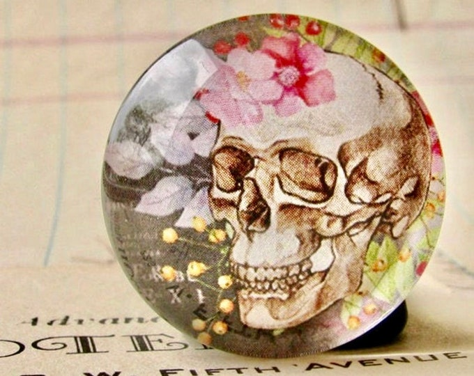 NEW! Skull with flowers on grey, handmade glass cabochon, round 25mm cabochon, 1 inch circle, feminine macabre, bones rose, bottle cap size