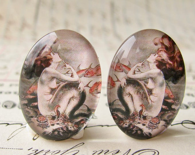 Mirrored pair of mermaids, handmade glass oval cabochons from our Magical Maidens collection, vintage comic image 25x18mm 18x25mm, opposites