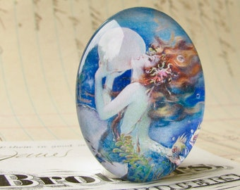 The Mermaid by Henry Clive, handmade 40x30mm or 25x18mm glass oval, bubble mermaid cabochon, white, blue, woman, hair, female ferility