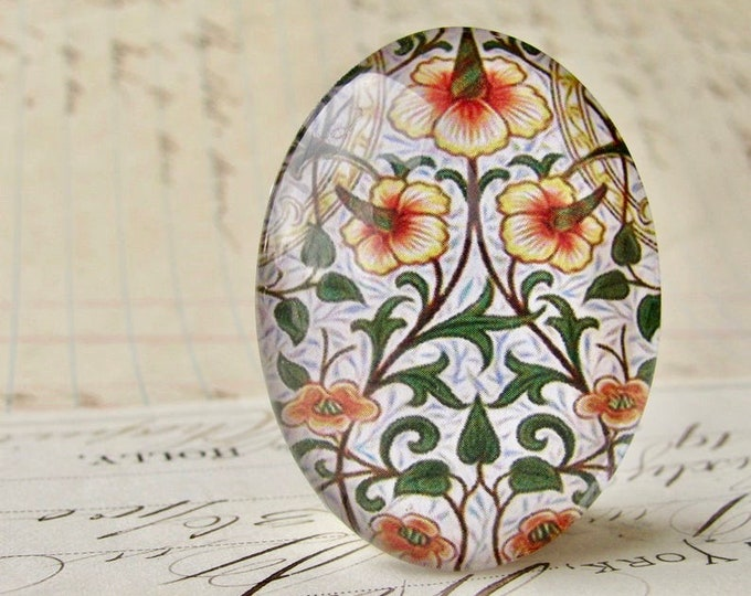 NEW! William Morris collection - orange flower, 40x30mm glass oval cabochon, wallpaper print, handmade in this shop, 40x30, Art Nouveau
