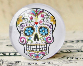 Sugar Skull, handmade 25mm round glass cabochon, Mexican Day of the Dead, Halloween, Latino art, Dia de los Muertos, calavera, flowers