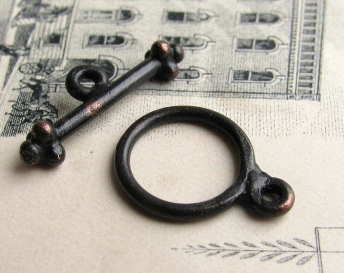 Elegant, simple toggle clasps, round 12mm circle, 20mm toggle bar, 2 sets, black antiqued pewter, aged patina, necklace closure, toggle set