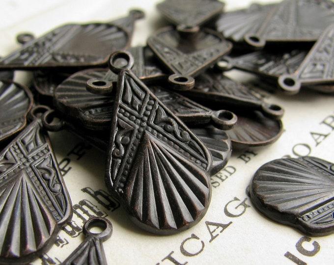 NEW! Art Deco fan drops, 18mm, black antiqued brass (6 earring charms) black patina dangle