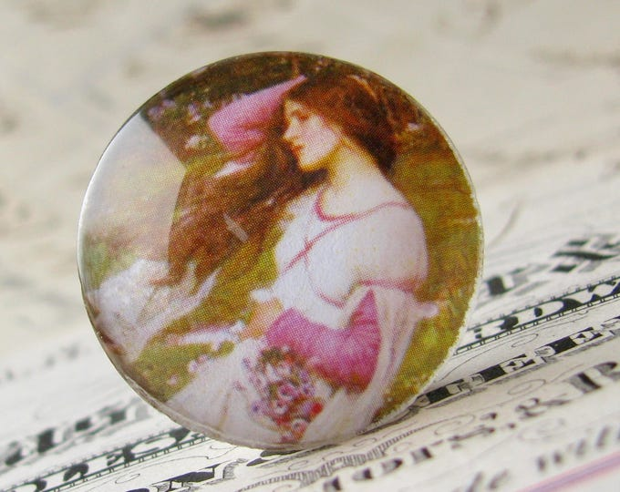 "John William Waterhouse ""Windflowers"" 25mm glass cabochon, handmade in this shop, Art History collection, 1 inch circle, bottle cap size"