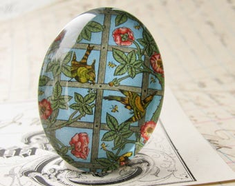 "William Morris collection ""Trellis"" cabochon, 40x30, photo glass oval cabochon, birds on a vine, aqua wallpaper print, handmade in this shop"