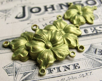 NEW! Absinthe finish, (2) green patina hibiscus flower necklace links,  2 to 1 connectors, 20mm flower, brass made in USA