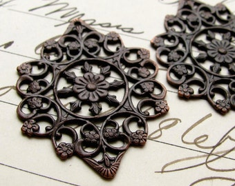 Snowflake pendant, 30mm black antiqued brass round filigree (2 brass flower filigrees) made in USA, cabochon frame, oxidized brass