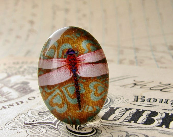 25x18mm glass oval cabochon, pink dragonfly on wallpaper, handmade in this shop, insect, bug, garden, Winged Wonders collection