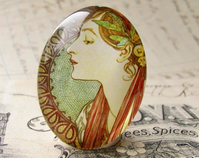 "Mucha's  ""Laurel"" print, Le Laurier, handmade cabochon, 40x30 40x30mm, glass oval cabochon, green sage, from our Art Nouveau collection"