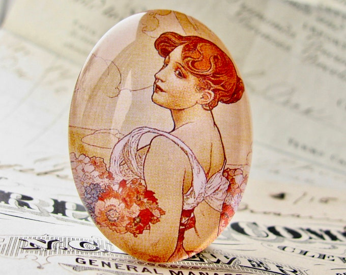 """From our Art Nouveau collection, Mucha's """"Summer"""" print, The Seasons series, handmade 40x30 40x30mm, glass oval cabochon, art history"""