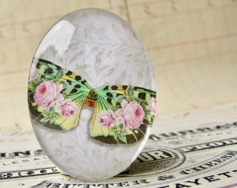 Pink roses on a green butterfly, William Morris wallpaper background, handmade glass oval cabochon, 40x30mm, garden, rebirth, renewal