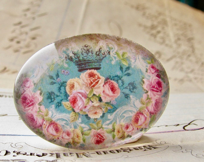 Pink Victorian roses on aqua blue, handmade glass cabochon, 40x30mm or 25x18mm, sideways oval, horizontal image, Fabulous Florals collection
