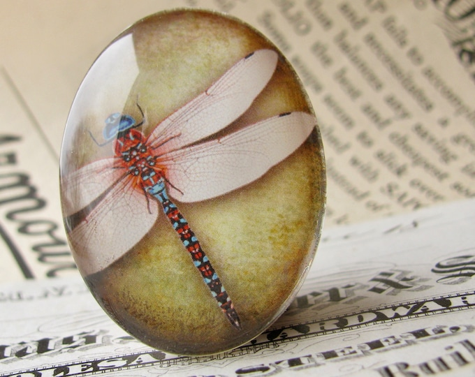 Pink dragonfly cabochon, handmade glass oval cabochon, 40x30mm or 25x18mm, olive green wallpaper background, Winged Wonder collection