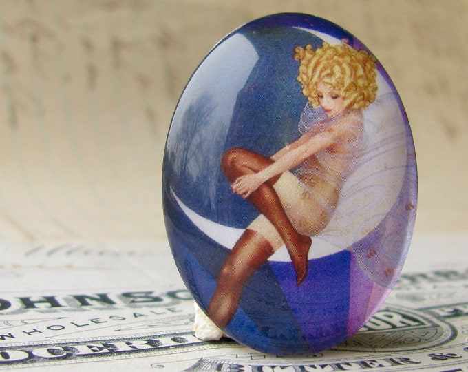 1920s vintage stocking ad, Blue Moon, handmade 40x30mm or 25x18mm glass oval cabochon, flapper, Jazz fashion, commercial illustration