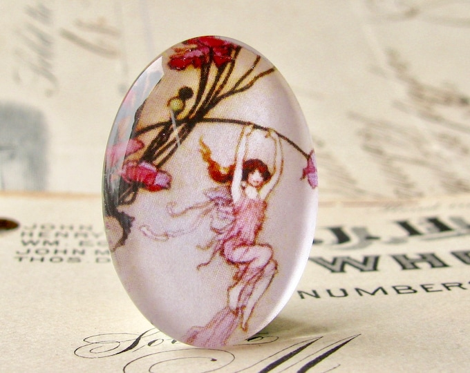 Pink fairy, handmade glass oval cabochon, 25x18mm, playful fairy, children's illustration, photo glass cabochon, 25mm 18mm 18x25mm oval