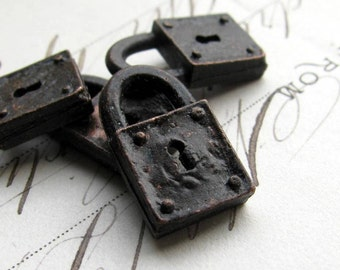 Rustic, weathered jewelry box lock charm from Bad Girl Castings pewter, aged black patina, 18mm (4) small size, key hole, square lock
