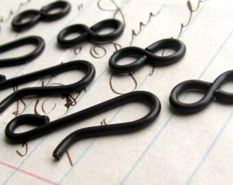 Large hook and eye set, 21mm hook, 11mm figure eight eye, dark antiqued brass (4 sets) squared edges aged black patina, hand flattened hook
