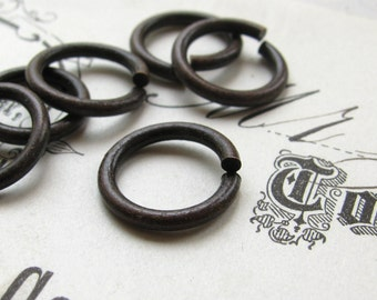 13mm jump ring, black antiqued brass (12 rings) lead, nickel free, made in the USA, 13 gauge, aged black patina, oxidized, black jump ring