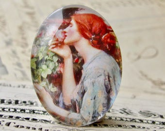 "John William Waterhouse ""The Soul of the Rose"" 40x30mm glass oval cabochon, artisan crafted in this shop, fine art cabochon, Art History"