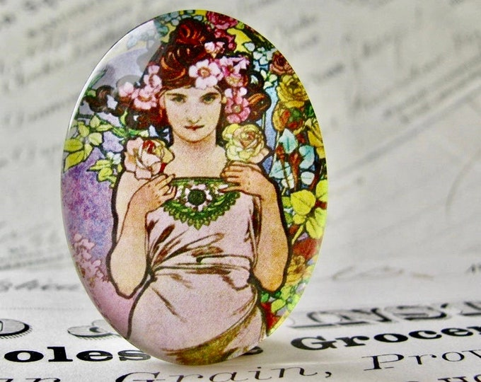 "From Alfons Mucha's ""Flowers"" series: ""The Rose"" handmade 40x30 40x30mm glass oval cabochon, Art Nouveau collection, art history image"