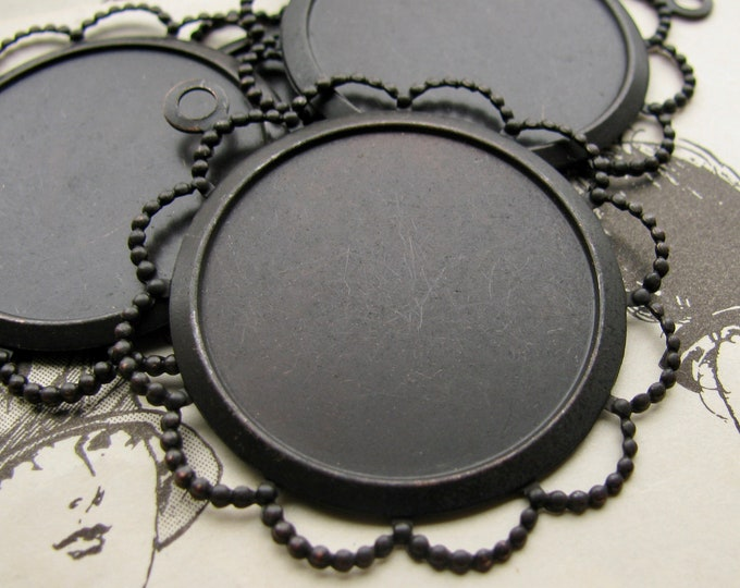 NEW! 25mm round frame, black antiqued brass (4 brass pendant trays) setting, lace flowered edge, frame for cabochons, use with a bezel