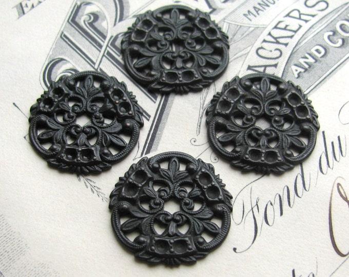 William Morris filigree medallion, antiqued black brass, 18mm (4 medallions) round flat filigree disc