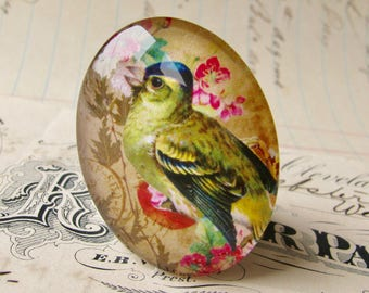 Green songbird with flower background, from our Beautiful Birds collection of handmade glass cabochons, 40x30mm, aqua blue, pink