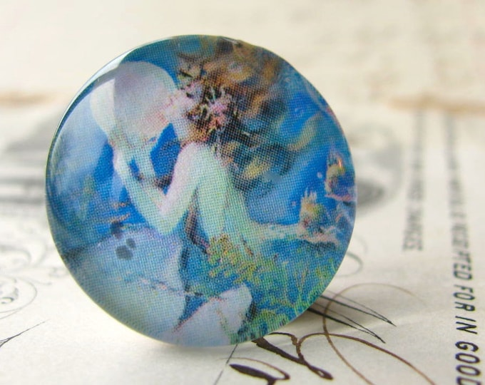 The Mermaid by Henry Clive, mermaid cabochon, female ferility, handmade glass cabochon, round 22mm cabochon, flat back image