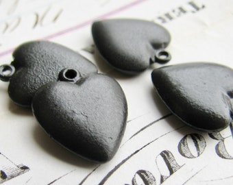 Solid heart charm, black antiqued brass (4 charms) black heart charm, puffed, puffy 15mm, dark patina, oxidized finish, Victorian Mourning