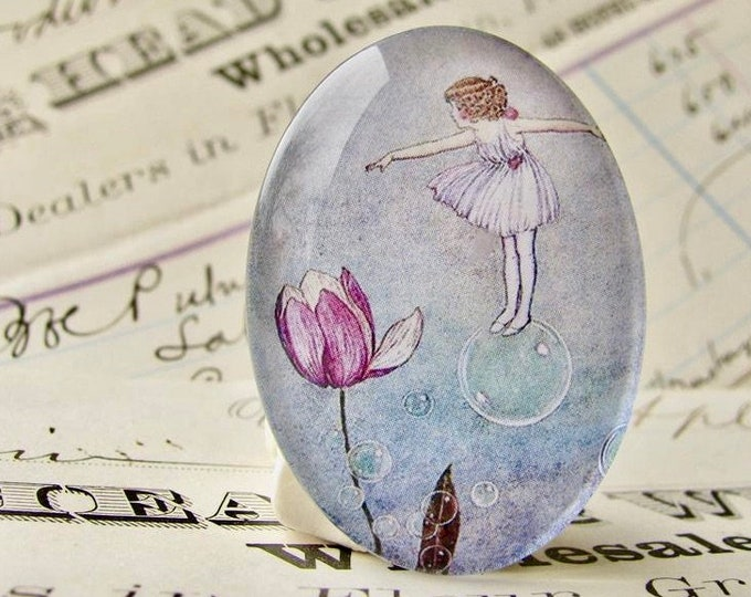 Bubble Fairy, handmade glass oval cabochon, 40x30 40x30mm 30x40mm, pink tulip, children's book illustration, Ida Rentoul Outhwaite