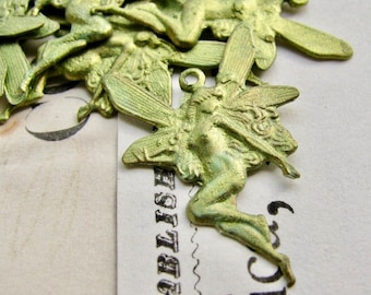 Absinthe finish, Green Fairy charms, 18x27mm (2 fairy pairs) faerie wings, fairy pendant, green patina, left right, mirrored pair