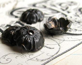 Black Brass 10mm Sakura flower bead cap (4 bead caps) black bead cap, cherry blossom, made in the USA, lead nickel free