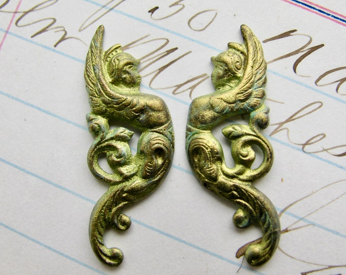 New! Absinthe finish, Mercury, messenger of the gods, 30mm, green patina brass ornament, left right, mirrored pair, Roman mythology