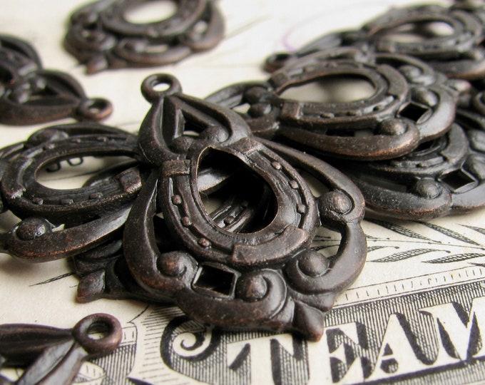 Tear drop charms, black antiqued brass, 25mm long (4 teardrop charms) earring drop, black aged patina, Catherine of Aragon dangle