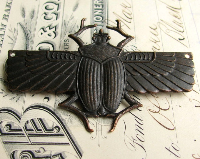 Egyptian scarab beetle pendant with drilled holes in wings - black antiqued brass - 70mm - black patina - giant, large, huge - OR-FF-013