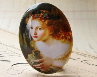 From our Magical Maidens collection - Butterfly fairy, handmade glass oval cabochon, 40x30mm, artisan crafted in this shop