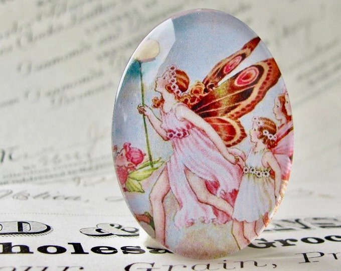 Fairy Parade, handmade glass oval cabochon, 40x30 30x40 40x30mm 30x40mm, pink, children's book illustration. Ida Rentoul Outhwaite