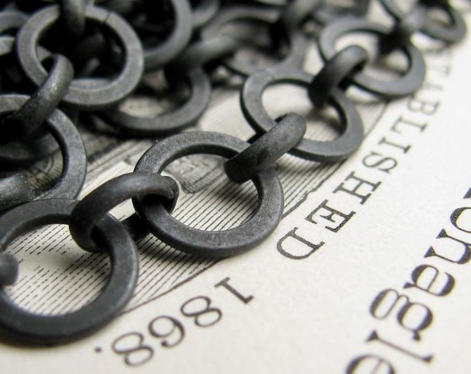 "Large link rollo chain ""Erté"" black antiqued brass (1 foot) flat, matte black chain, round links, bulk length black chain, pure brass"